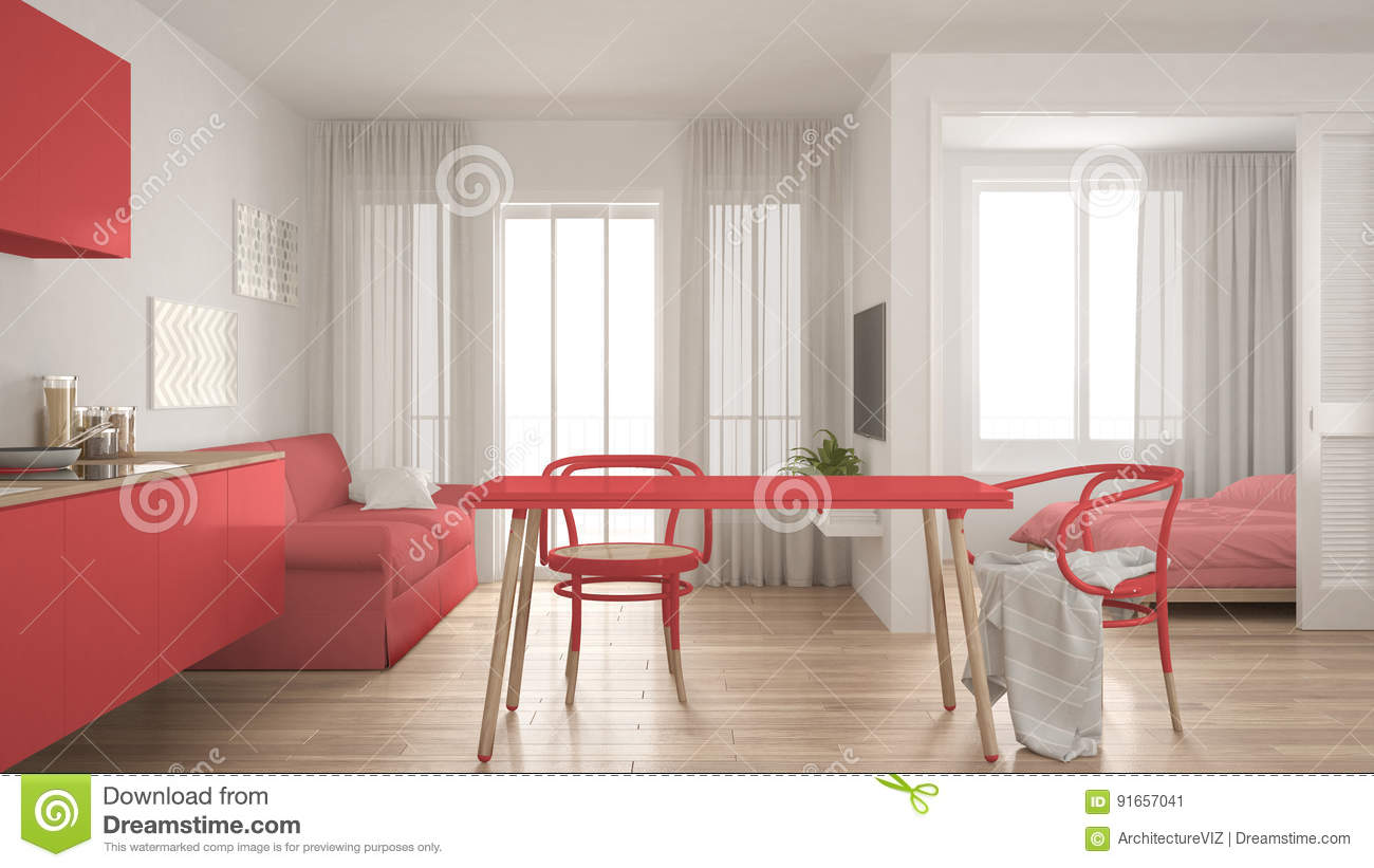 Modern Minimal Kitchen And Living Room With Bedroom In The Background Small Apartment White And Red Interior Design Stock Illustration Illustration Of Architecture Relaxing 91657041