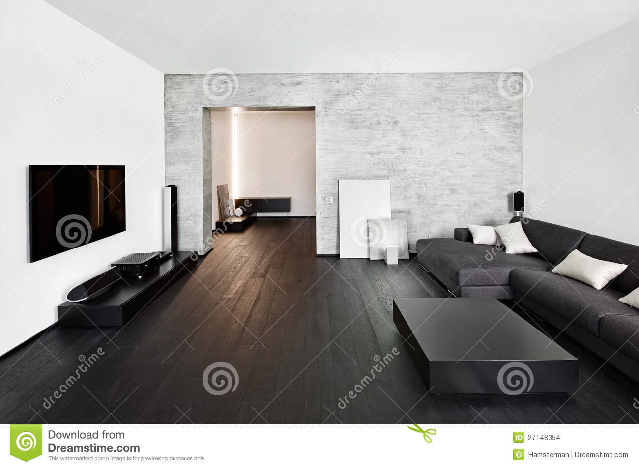 Modern minimalism style drawing room interior stock images for Interieur salon moderne