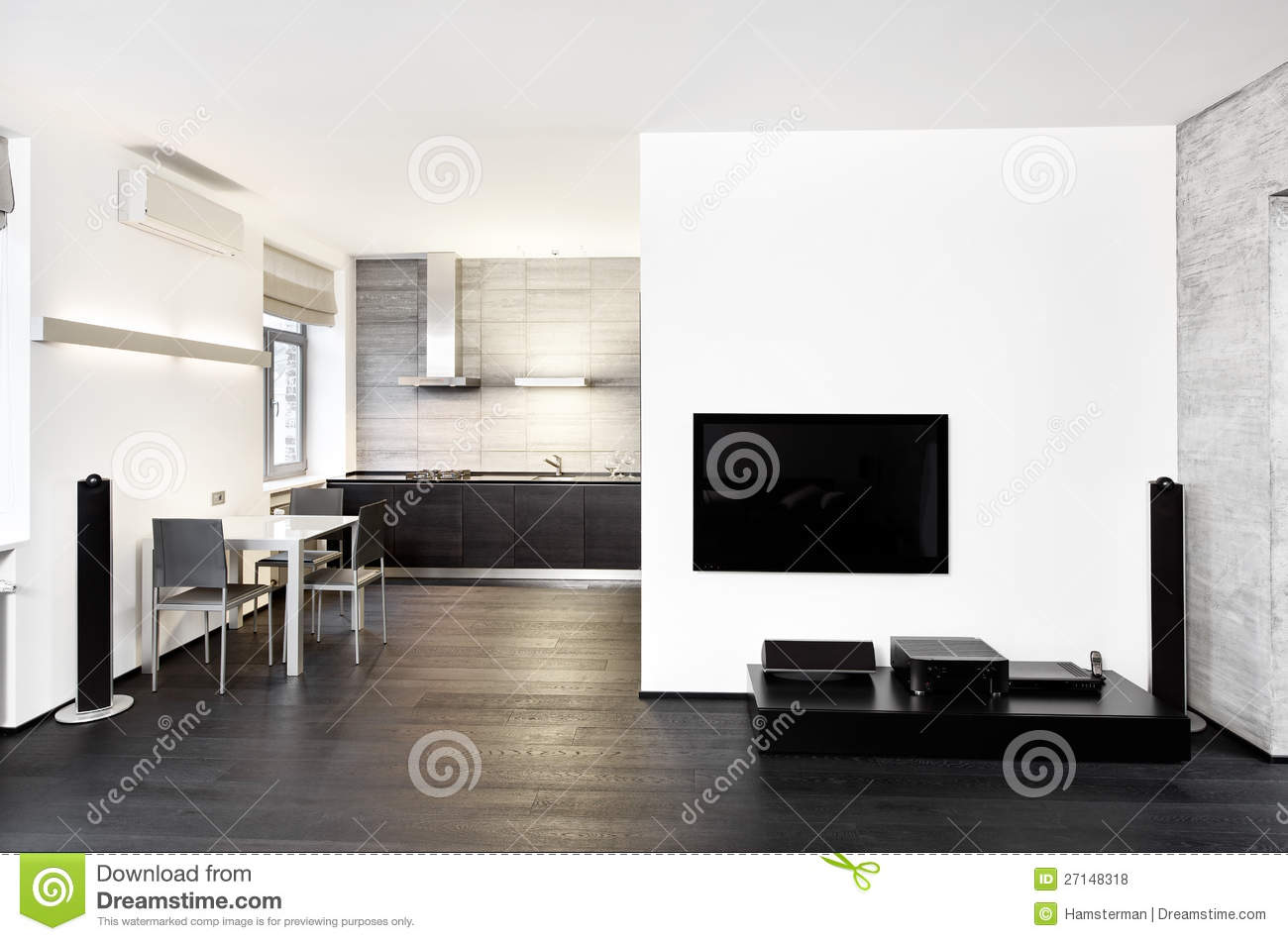 Download Modern Minimalism Style Kitchen Interior Stock Photo - Image of drawing, concept: 27148318