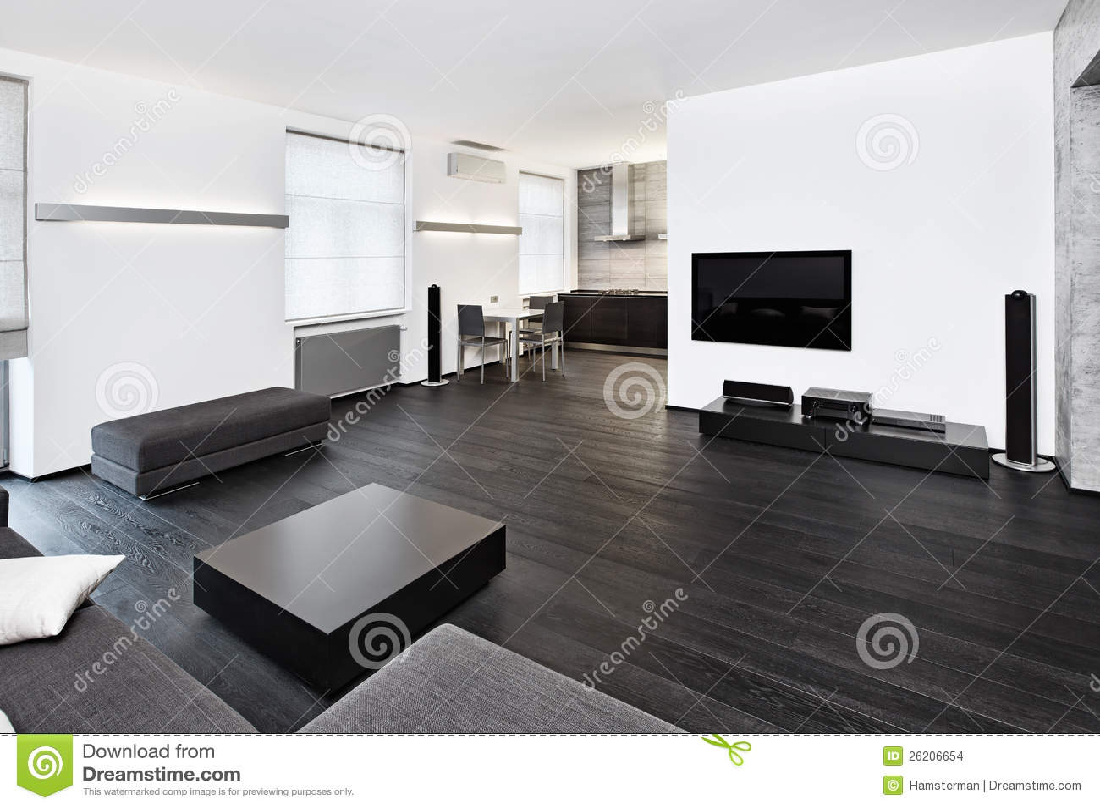 Modern minimalism style studio interior stock images - Idee deco interieur contemporain ...