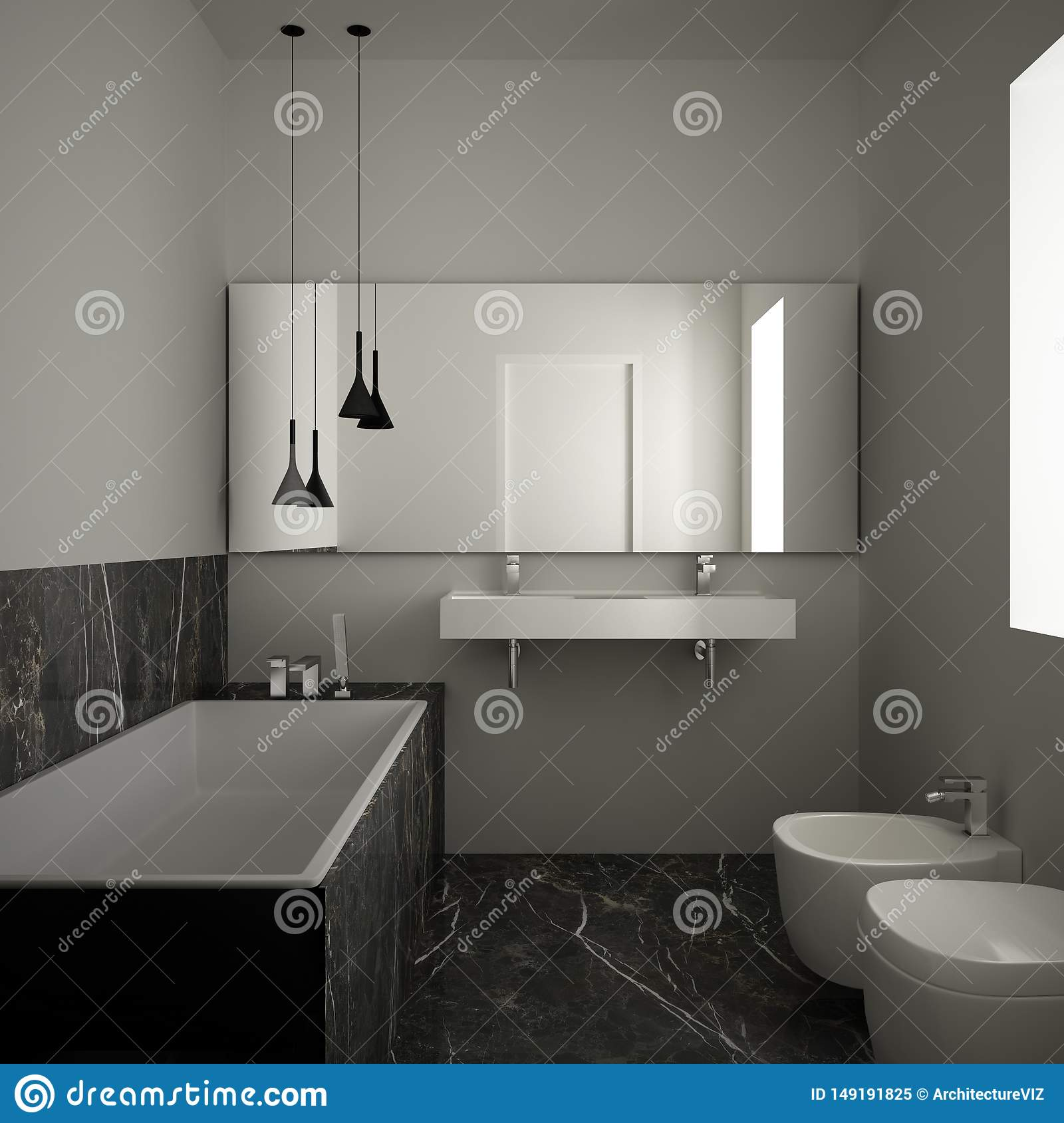 Modern Minimalist Bathroom With Dark Marble Floor And Tiles White Bathtub And Double Sink Contemporary Architecture Interior Stock Illustration Illustration Of Peaceful Simple 149191825
