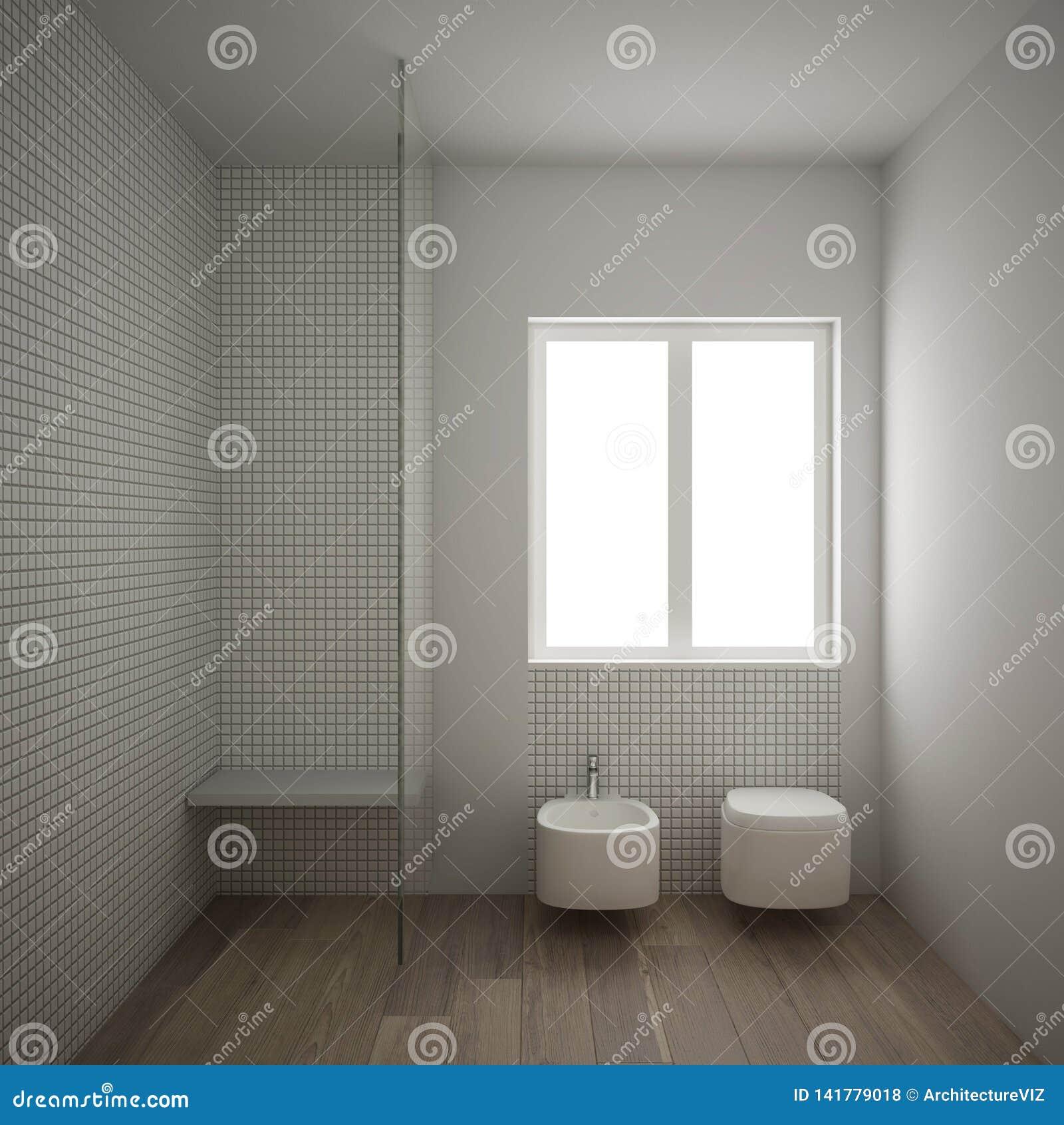 Minimalist Bathroom Images: Modern Minimalist Bathroom With Parquet Oak Wood Floor And