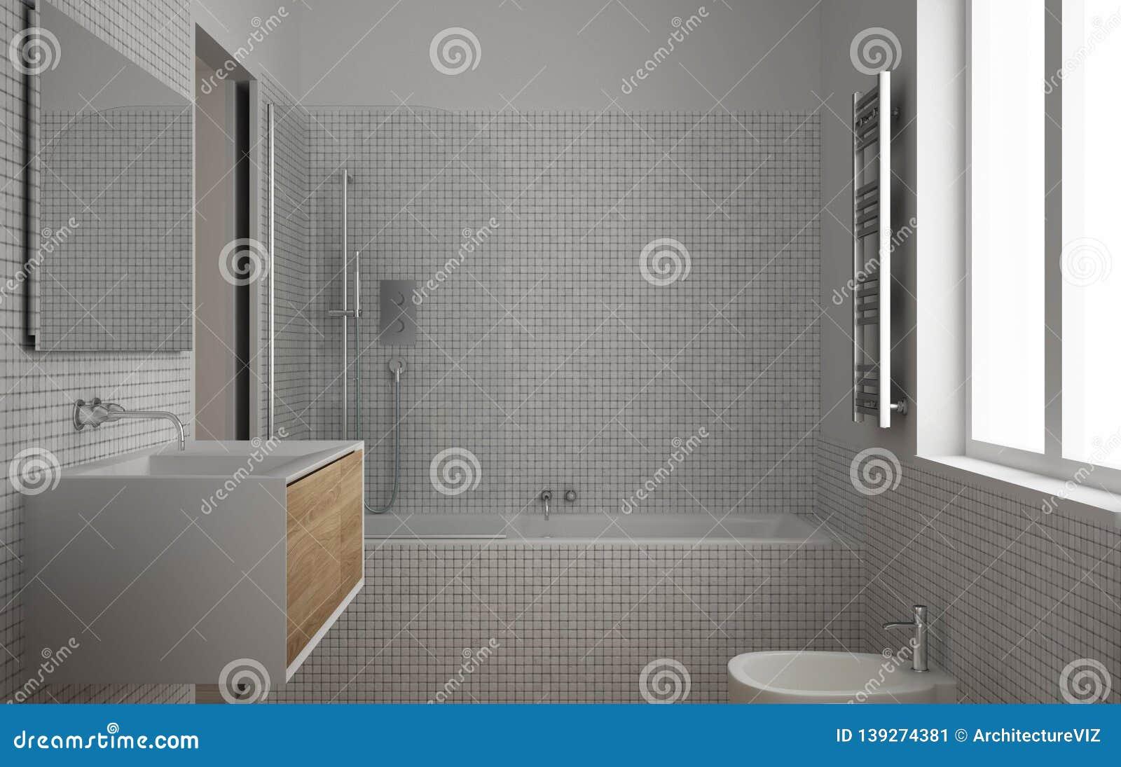 Modern Minimalist Bathroom With Parquet Oak Wood Floor And White