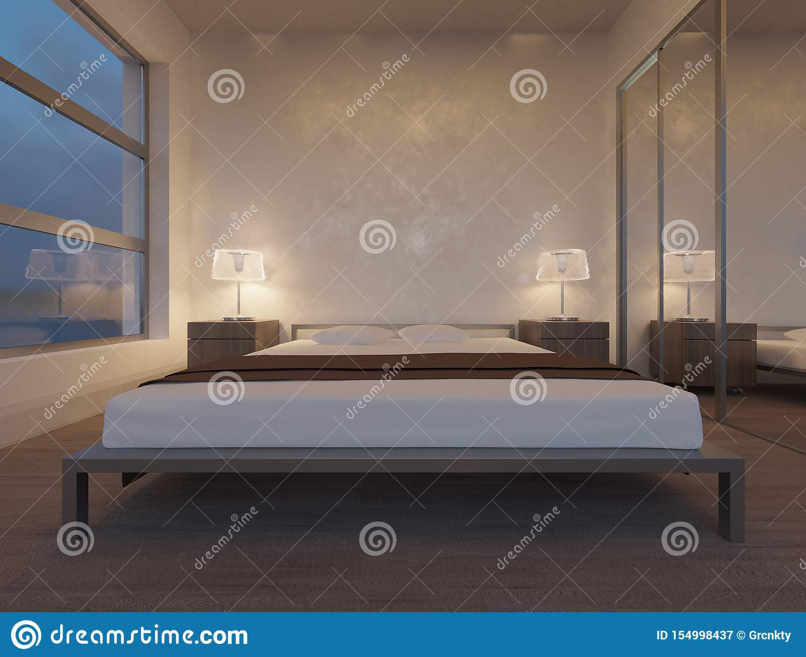 Modern Minimalist Bedroom Wooden Bed Stock Image - Image of ...