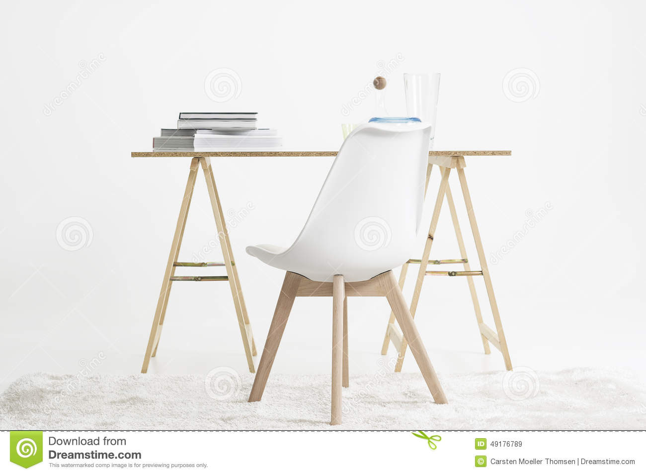 Modern Minimalist Desk And Chair Stock Photo Image 49176789