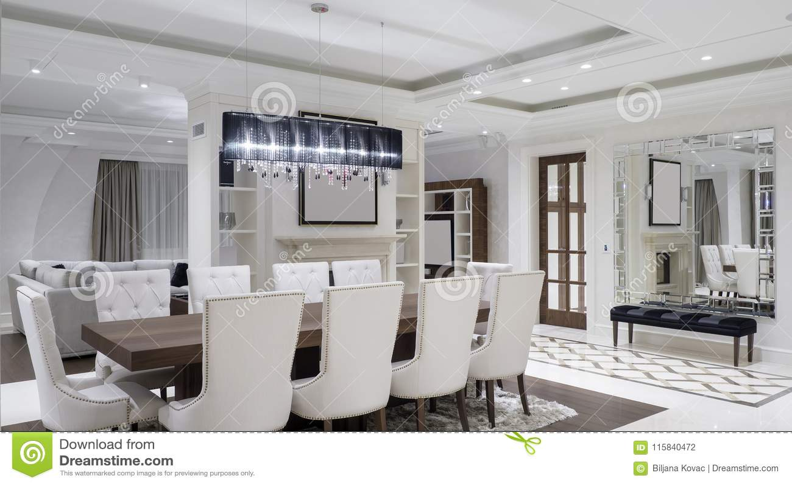 Modern Minimalist Dining Room Stock Photo   Image of leather ...