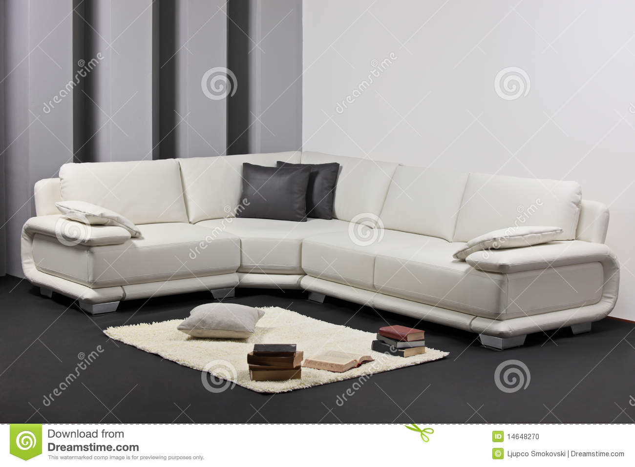 A Modern Minimalist Living Room With Furniture Stock Photo