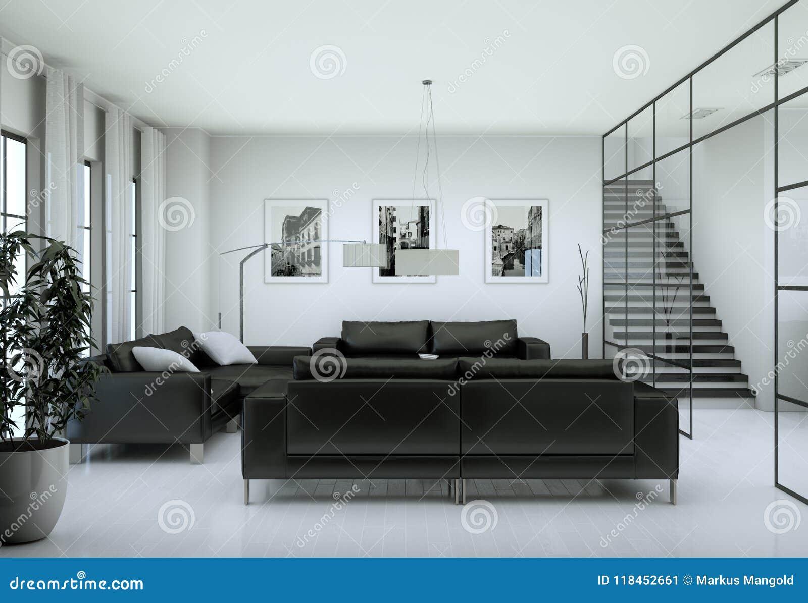 Modern Minimalist Living Room Interior In Loft Design Style With Sofas Stock Image Image Of Designer Environment 118452661