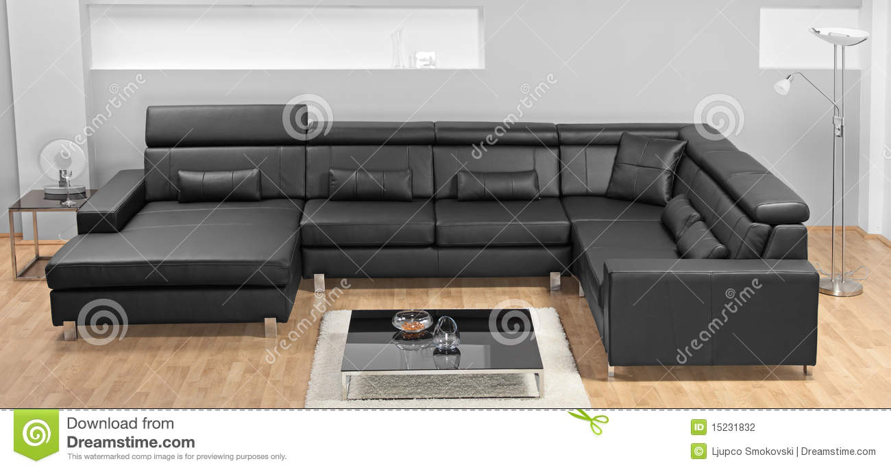 modern minimalist living room with leather sofa stock photography
