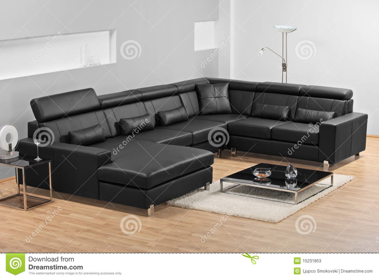 A Modern Minimalist Living Room With Leather Sofa Stock Image Image Of Indoor Illumination