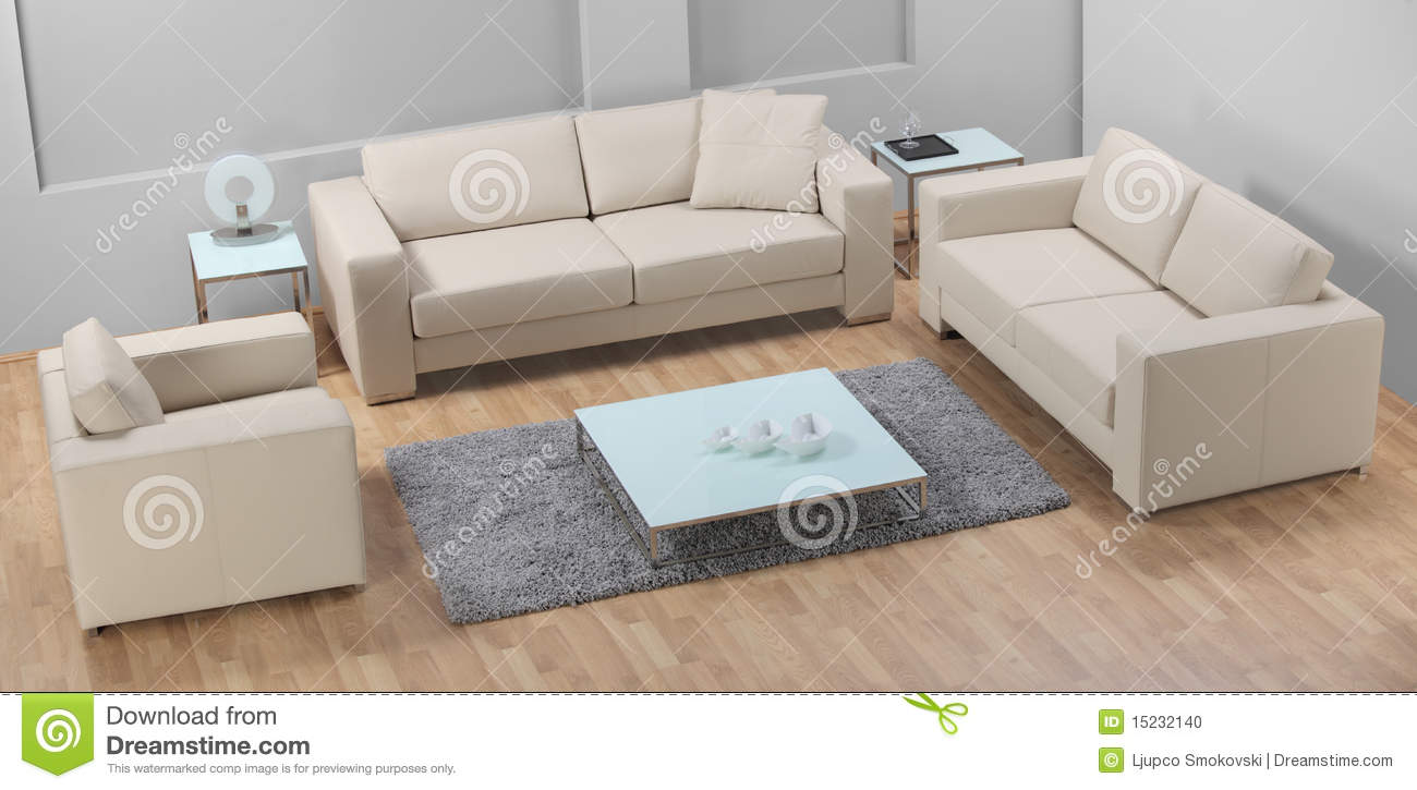 A modern minimalist living room with leather sofa stock for Minimalist sofa