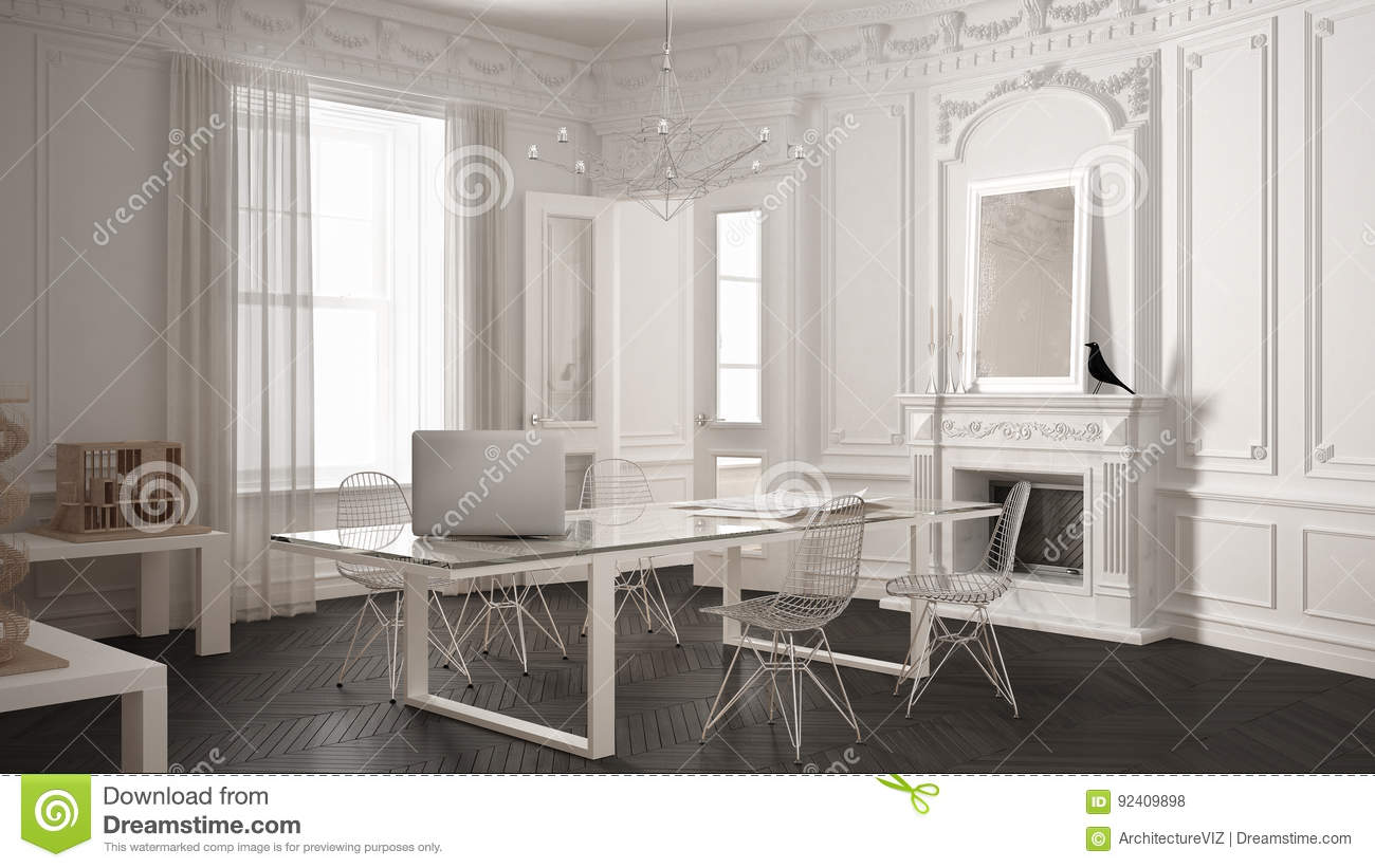 Modern Minimalist Office In Classic Vintage Room With Fireplace