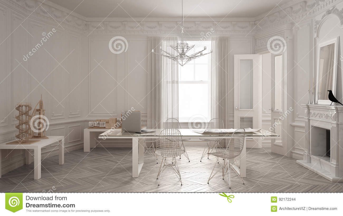 Empty room with minimalist fireplace stock photography for Vintage minimalist interior design