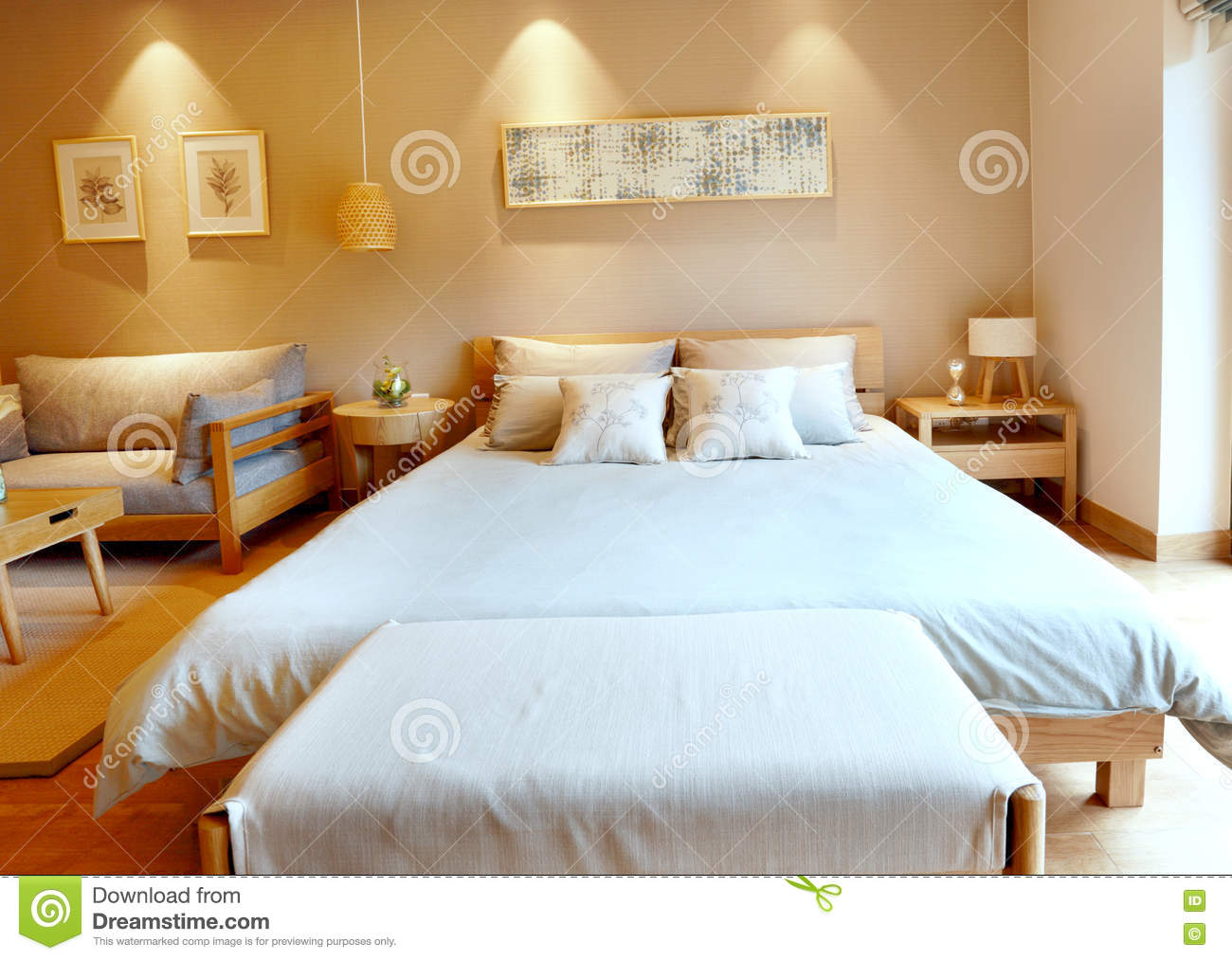 Modern Minimalist Style Bedroom Furnished Room Stock Image - Image ...