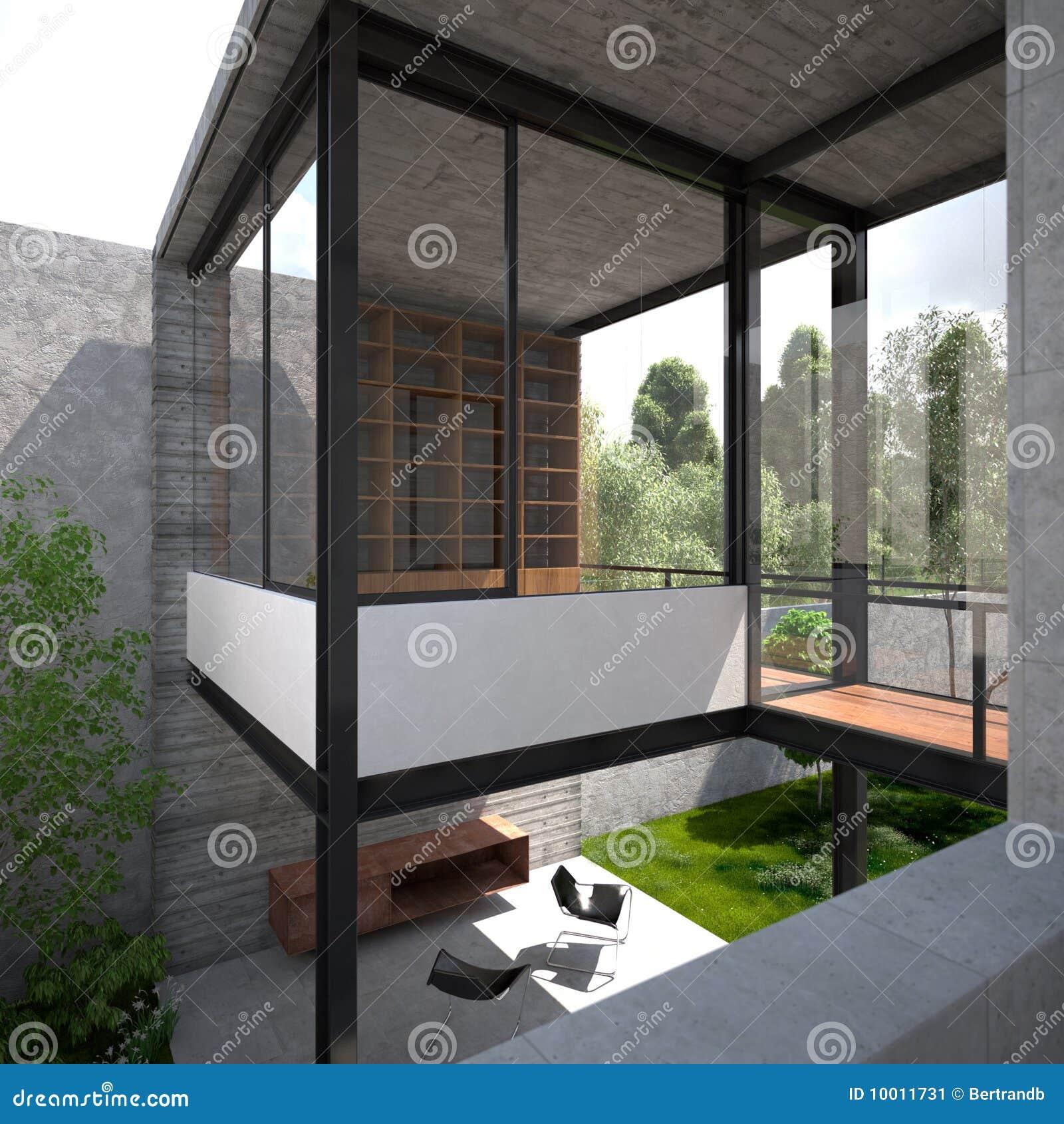 Modern minimalist summer villa stock image image 10011731 for Modern minimalist villa