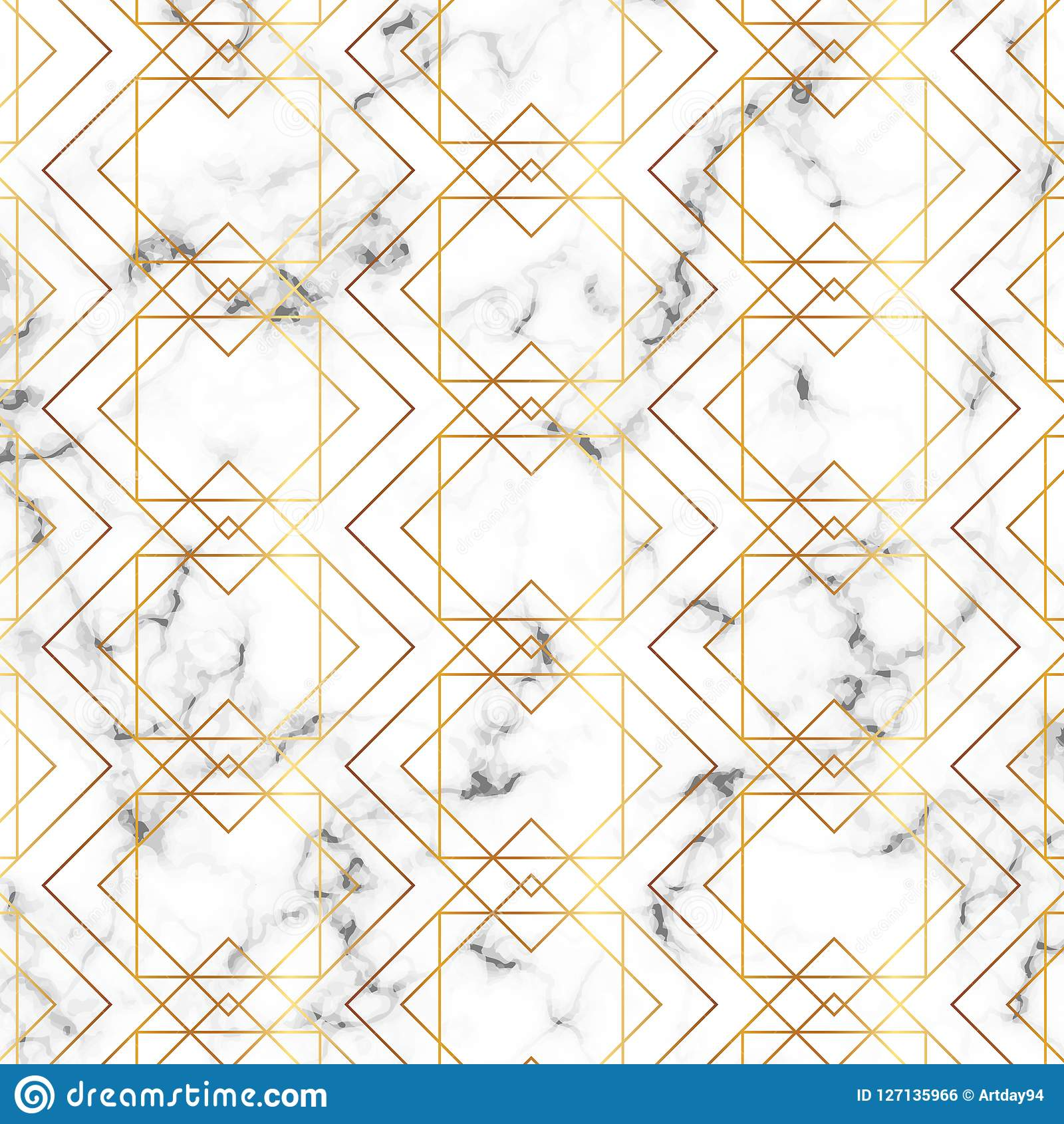 Modern Minimalist White Marble Texture With Gold Geometric