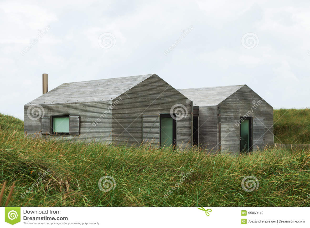 Modern Wooden Houses Surrounded By Lawn Stock Photo Image Of