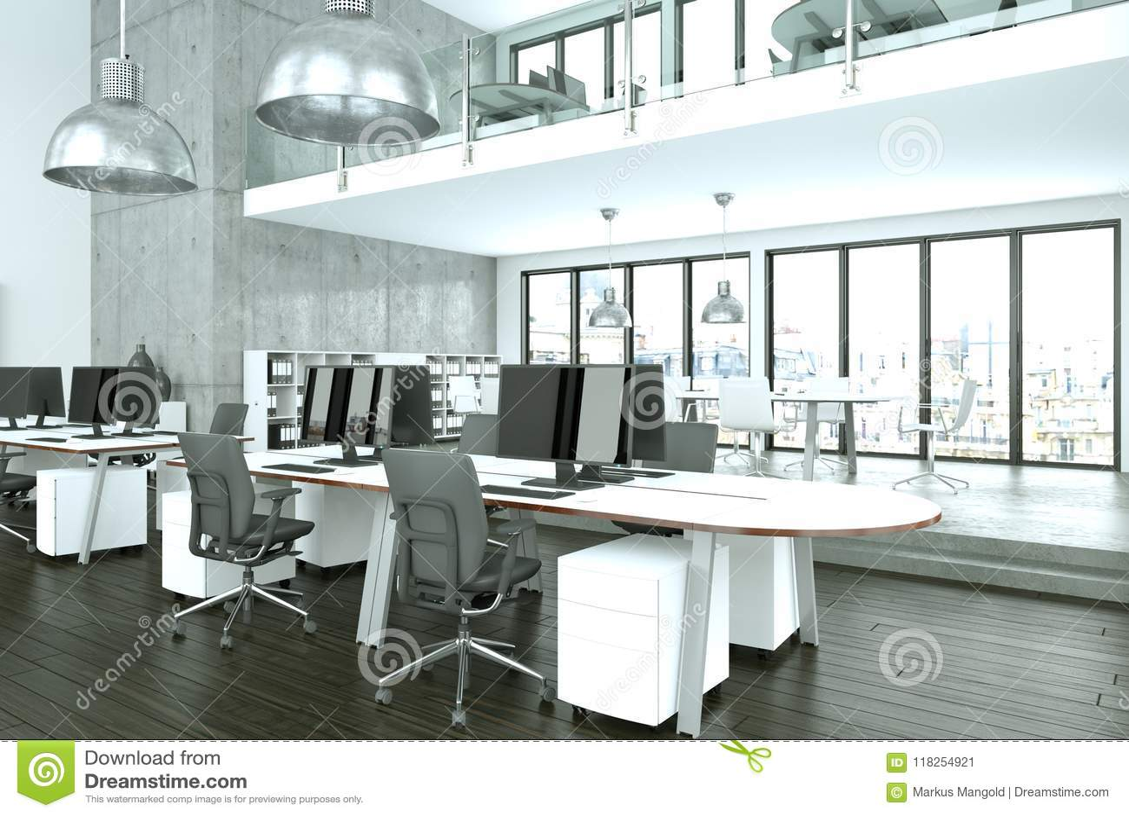 Modern Minimalistic Office Interior Design 3d Rendering