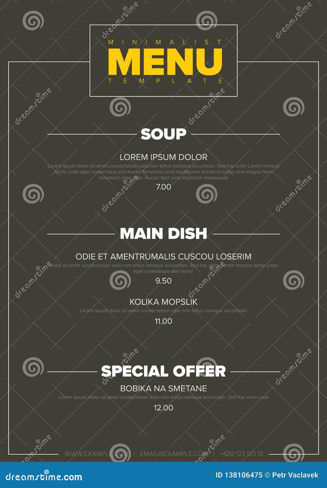 Modern Minimalistic Restaurant Menu Template Stock Vector Illustration Of Design Hipster 138106475