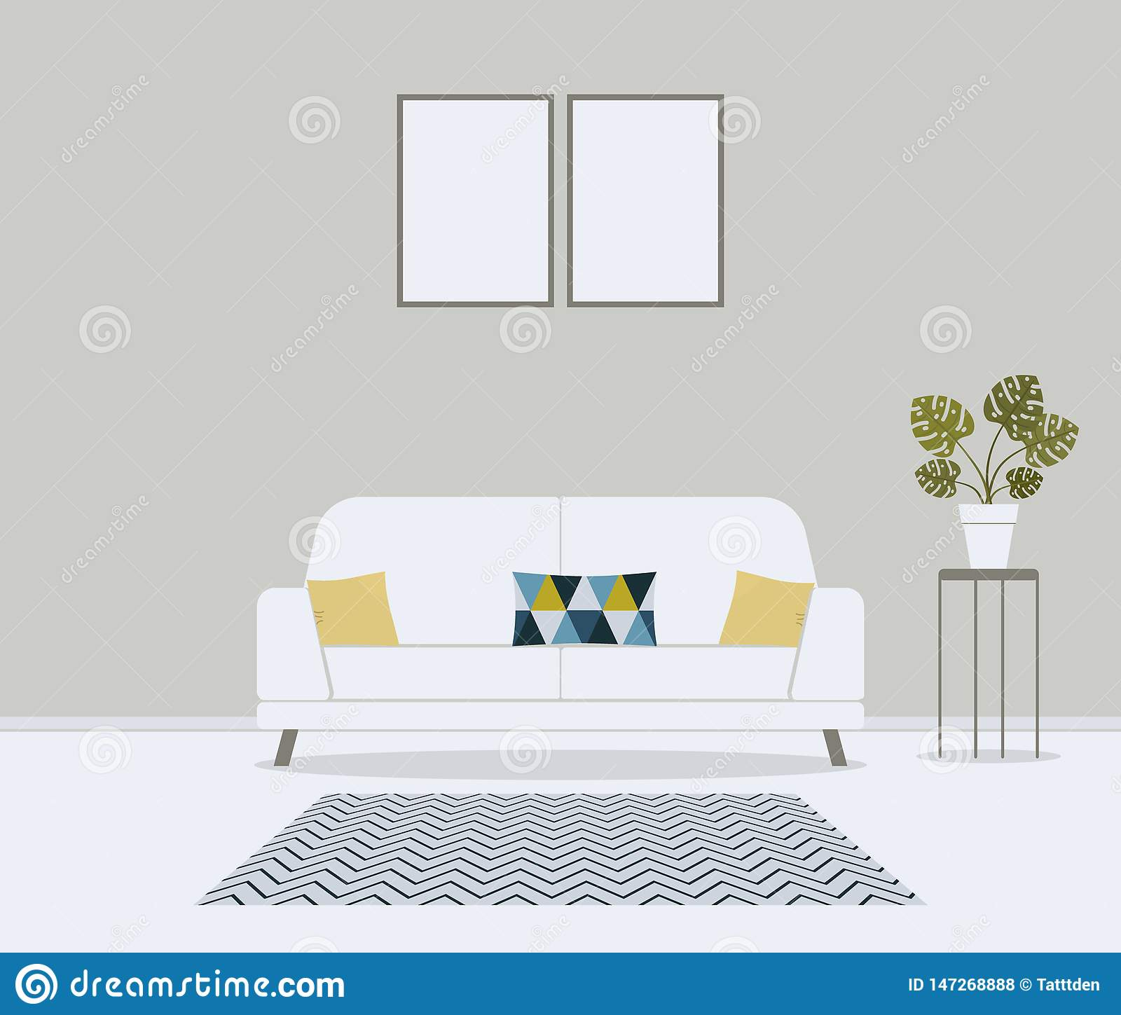 Modern minimalistic scandinavian style living room. Furniture for home interior: sofa, couch, cushions in cute pattern,carpet,