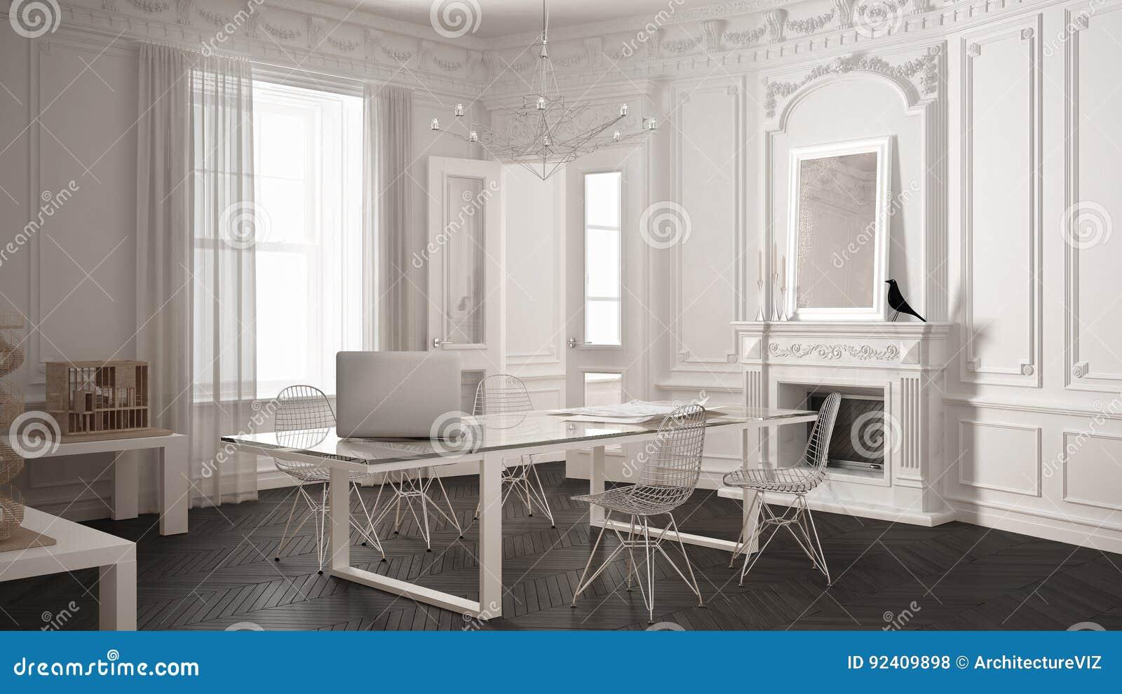 Modern minimalistisch bureau in klassieke uitstekende ruimte met