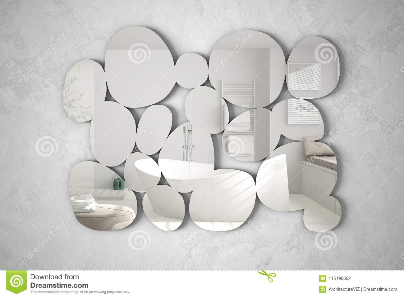 Modern Mirror In The Shape Of Pebbles Hanging On The Wall Reflecting