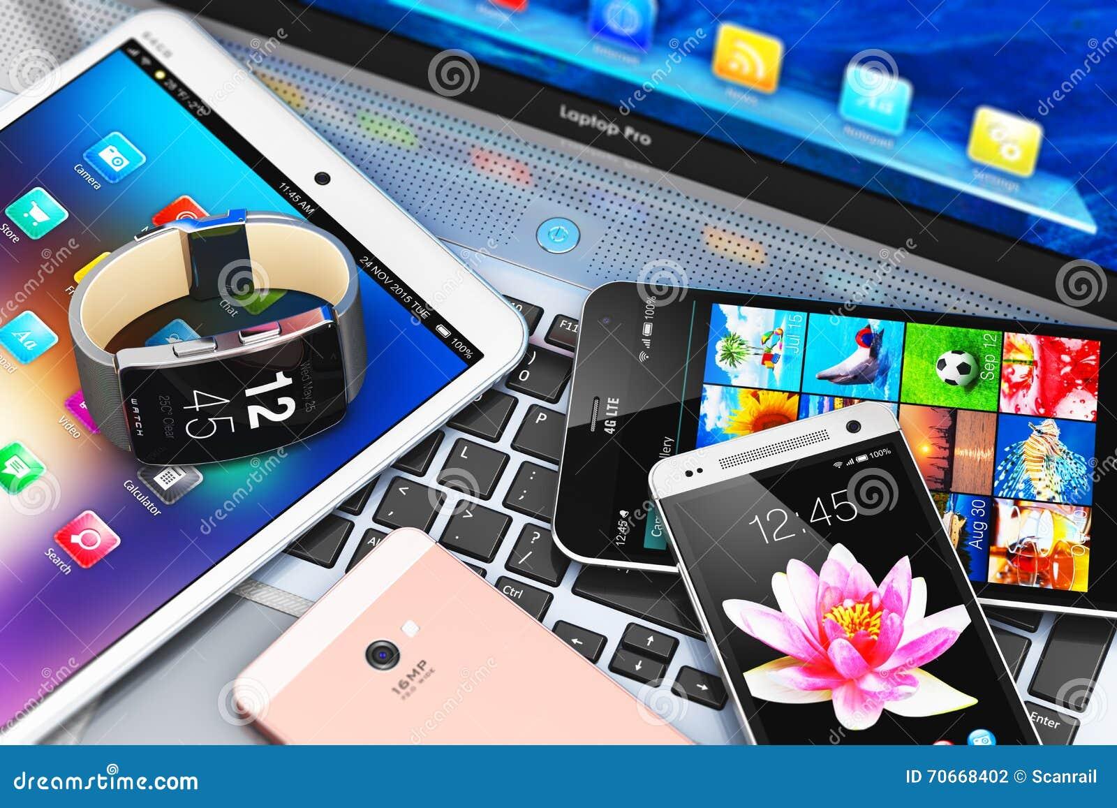 Modern mobile devices stock illustration illustration of office 70668402 - Office for mobile devices ...