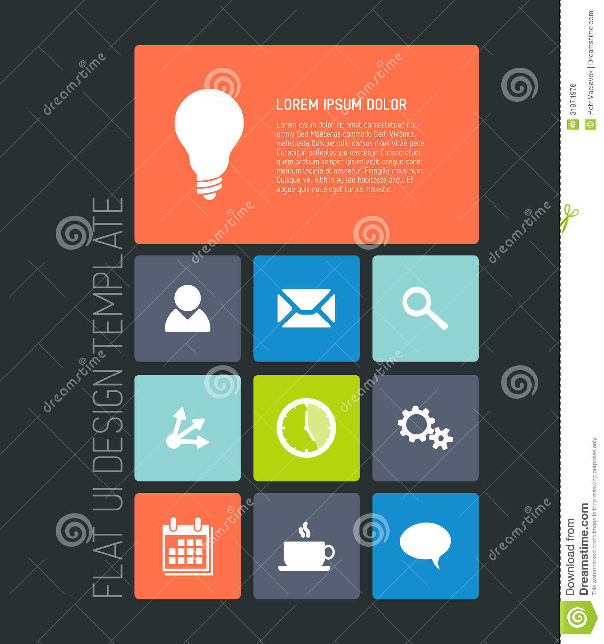 Modern mobile phone flat user interface stock vector for Mobel design