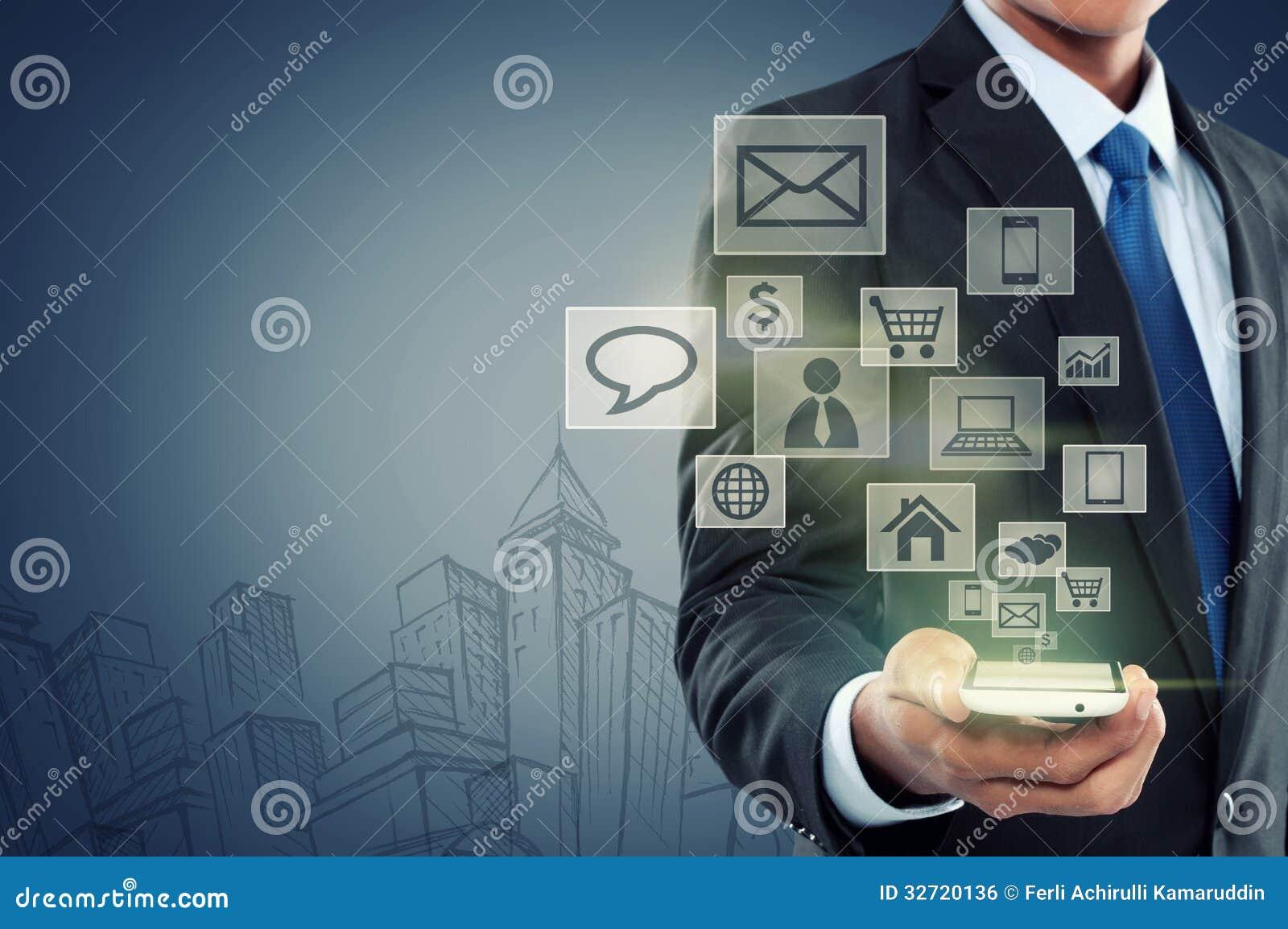 Modern mobiltelefon för kommunikationsteknologi