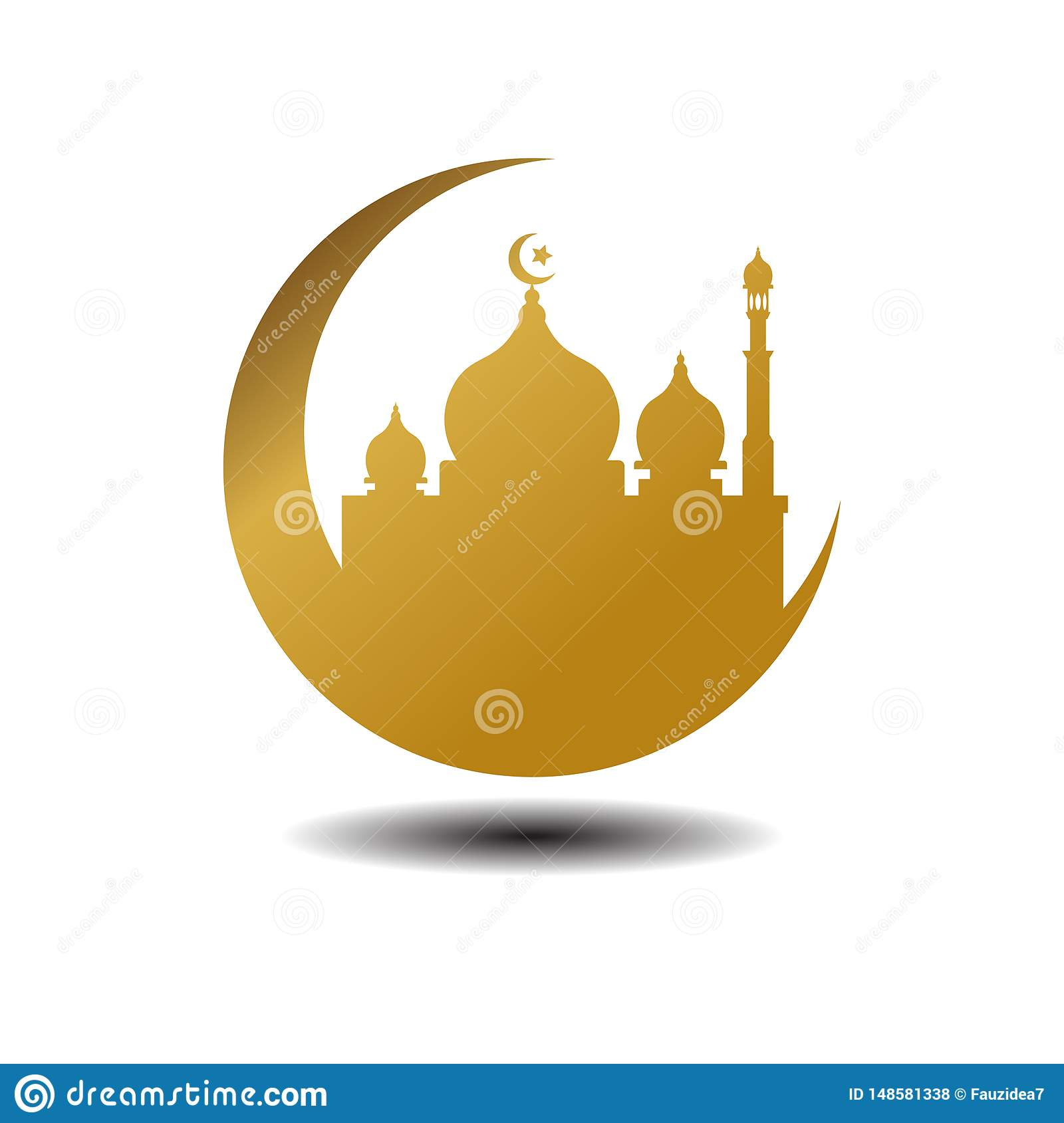 Modern Mosque Moslem Icon Vector Gold white Background with shadow For All business. Illustration Islamic