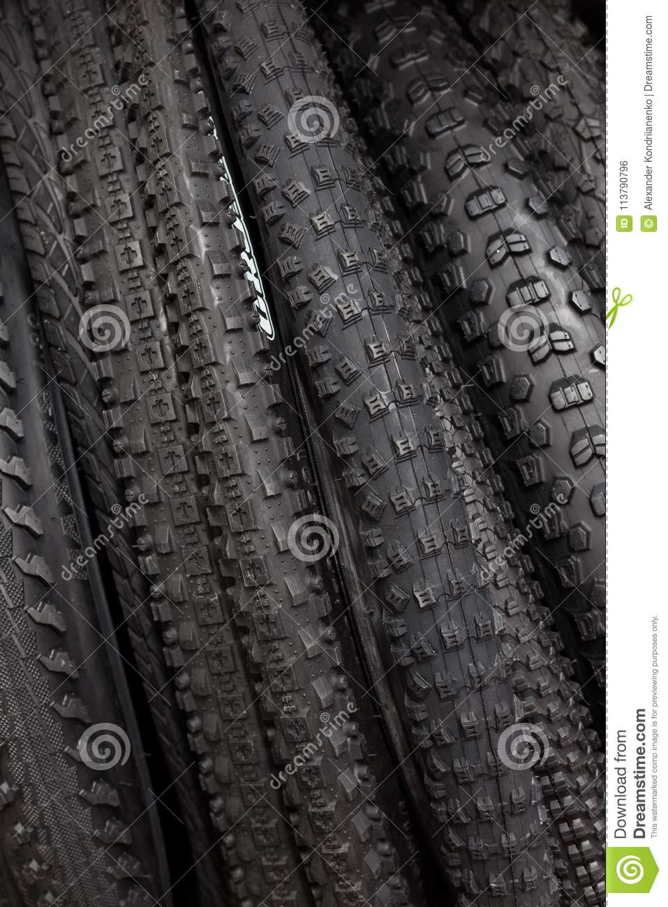 Modern mountain bike tire. Element of bicycle. Large selection of tires.