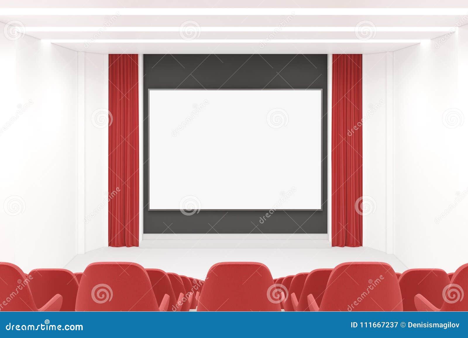 Modern Movie Theater Interior, Mock Up Screen Stock Illustration ...