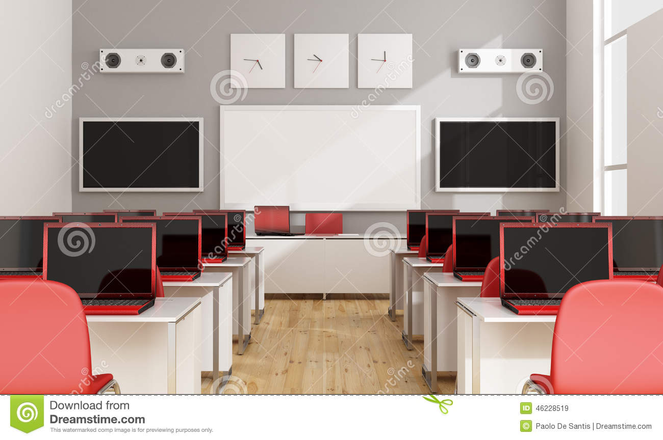 Multimedia Classroom Design ~ Modern multimedia classroom stock illustration image