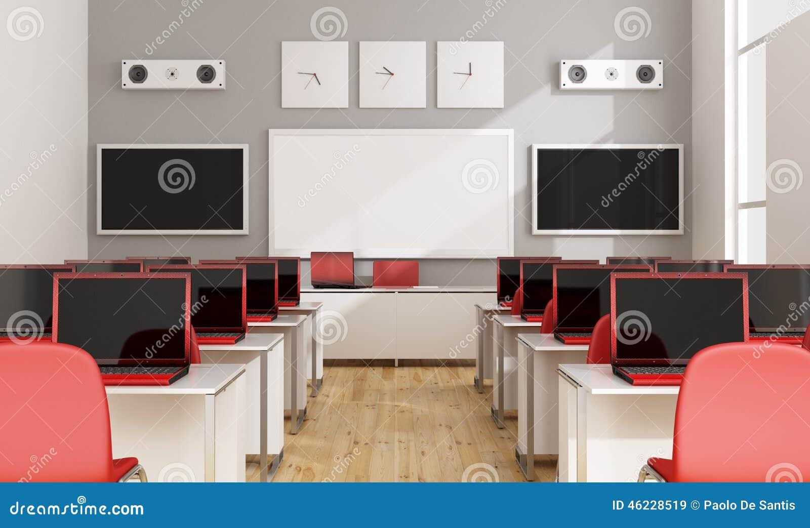 Multimedia Classroom Design : Modern multimedia classroom stock illustration image