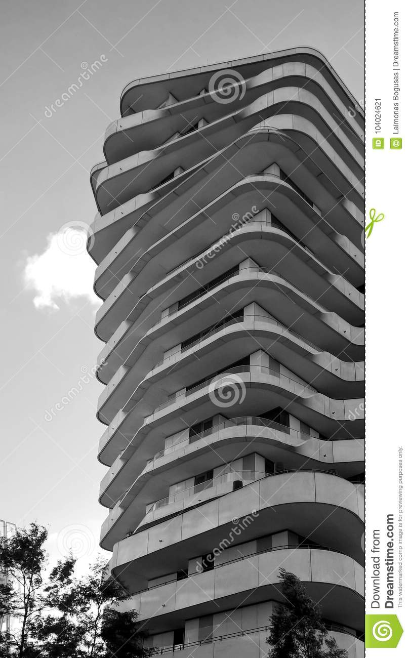 Modern multistory building with balconys