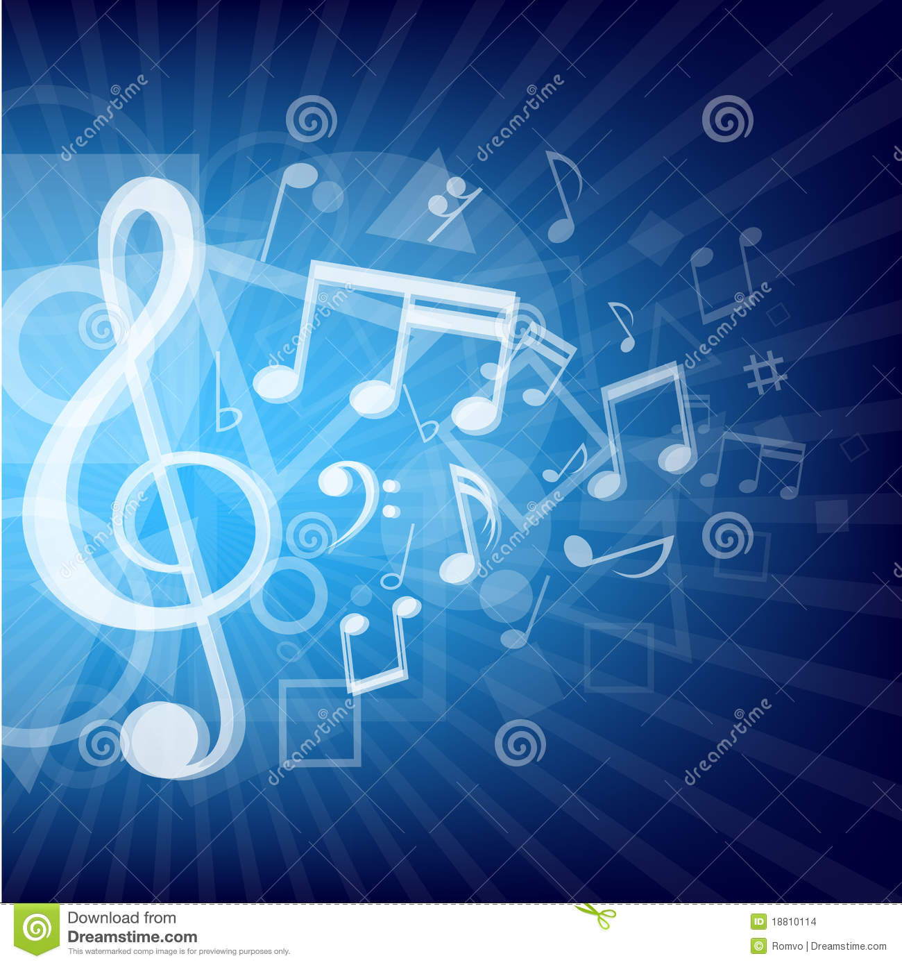 ... modern abstract music notes and geometrical shapes blue background