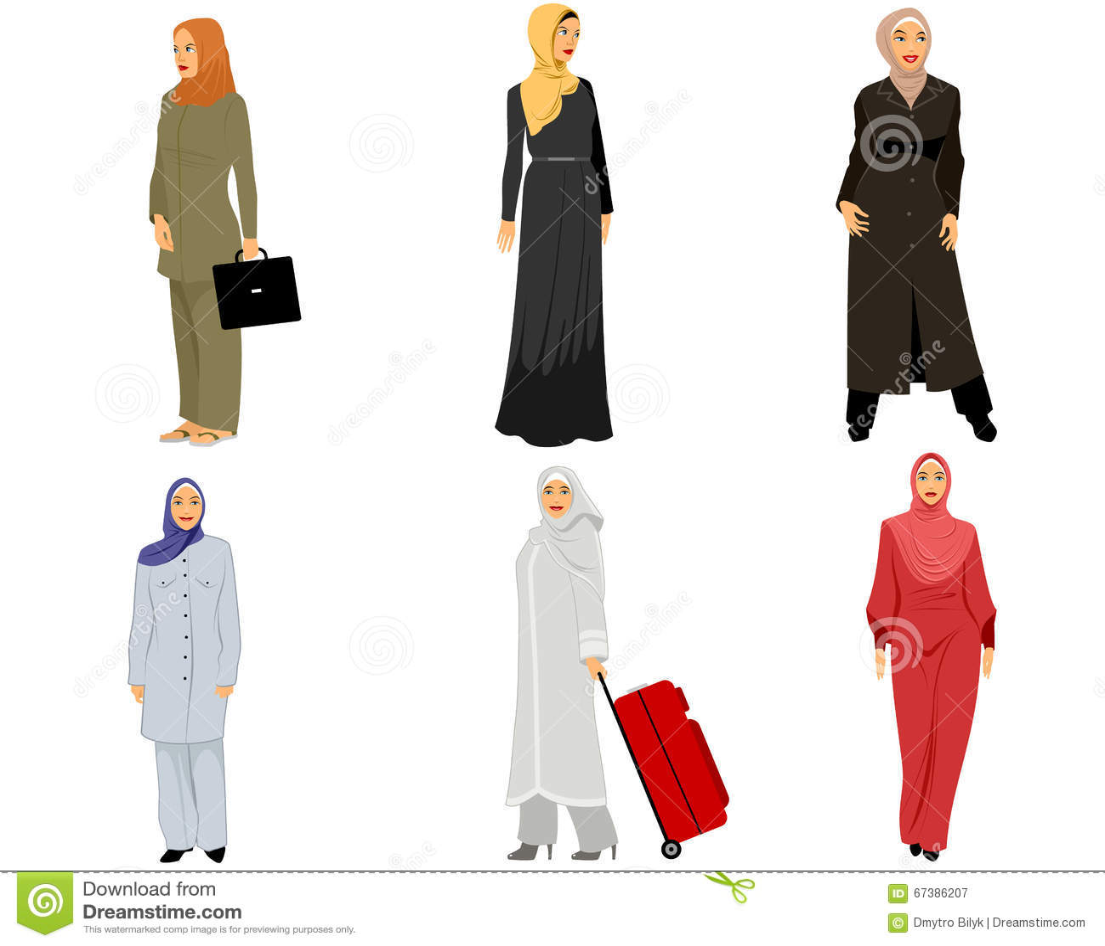 modern muslim women stock vector illustration of dress