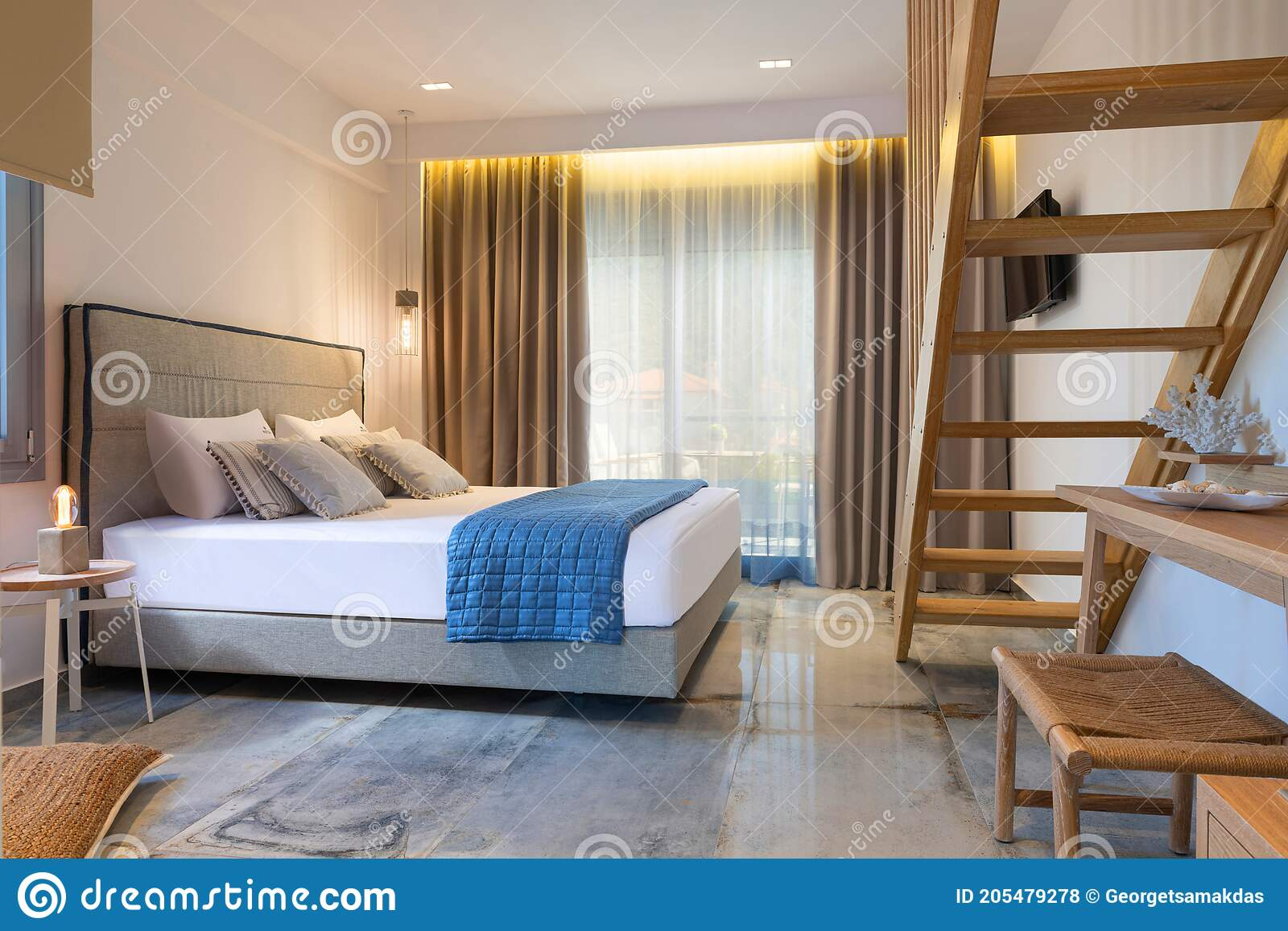 Modern Nautical Style Interior Of Hotel Apartment White Bedroom With Pine Wood Ladder Handmade Wooden Furniture Double Bed Stock Photo Image Of Cozy Ceramic 205479278