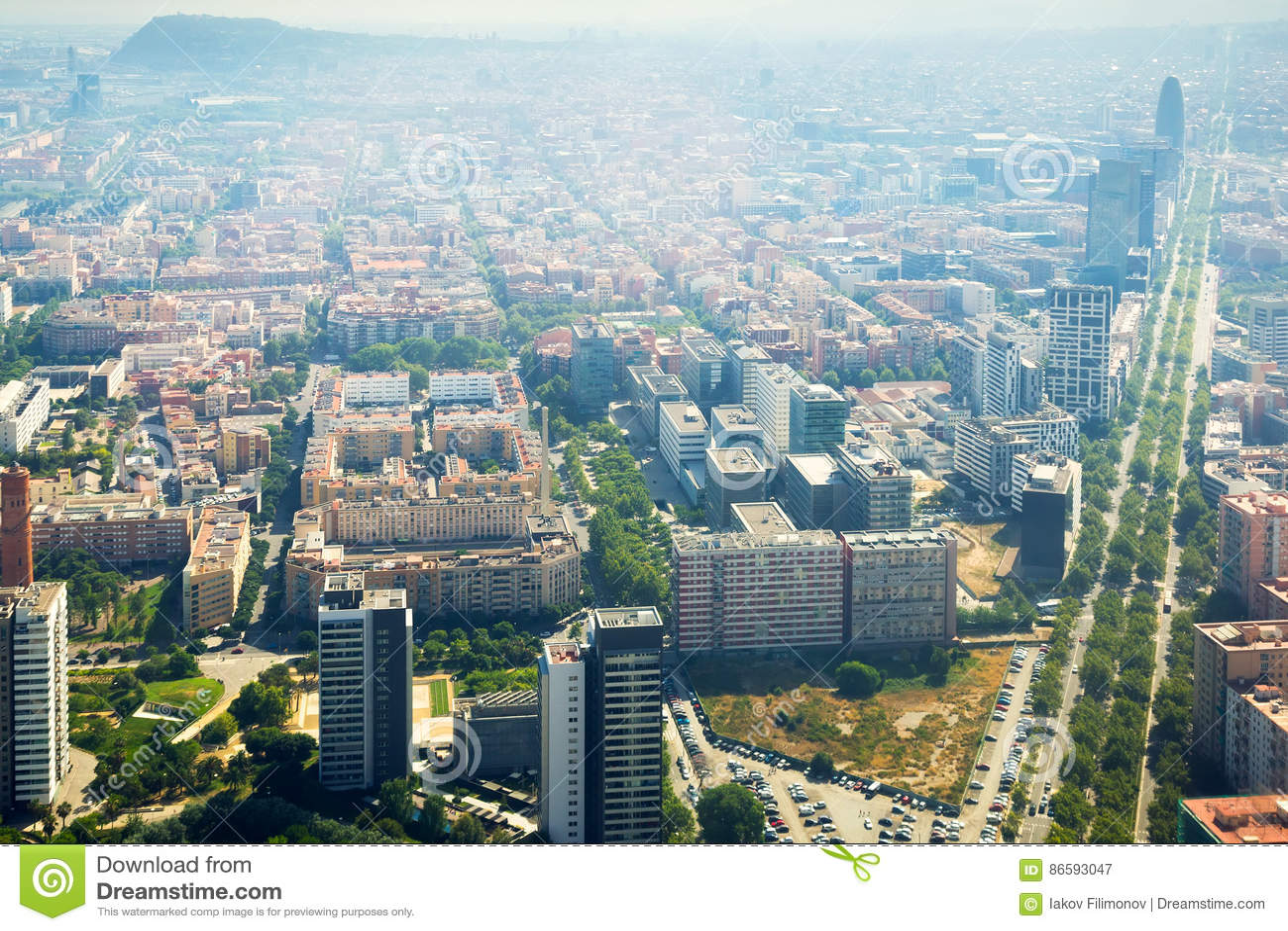 Modern neighbourhoods of Barcelona in Spain, aerial view
