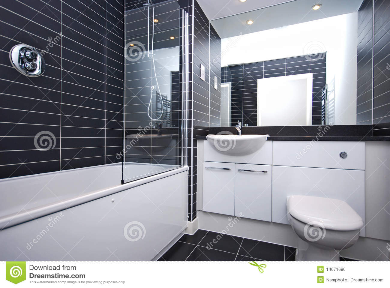 Modern New Bathroom In Black And White