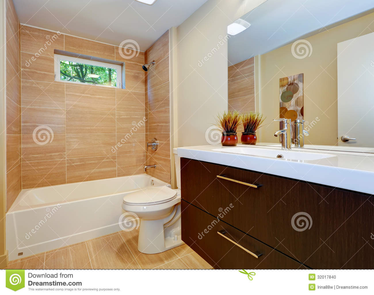 Modern New Bathroom Design With Sink And White Tub Stock