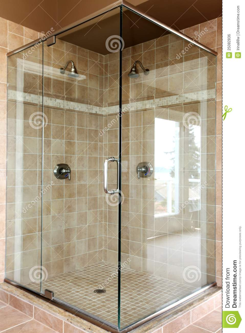Modern New Glass Walk In Shower With Beige Tiles Stock