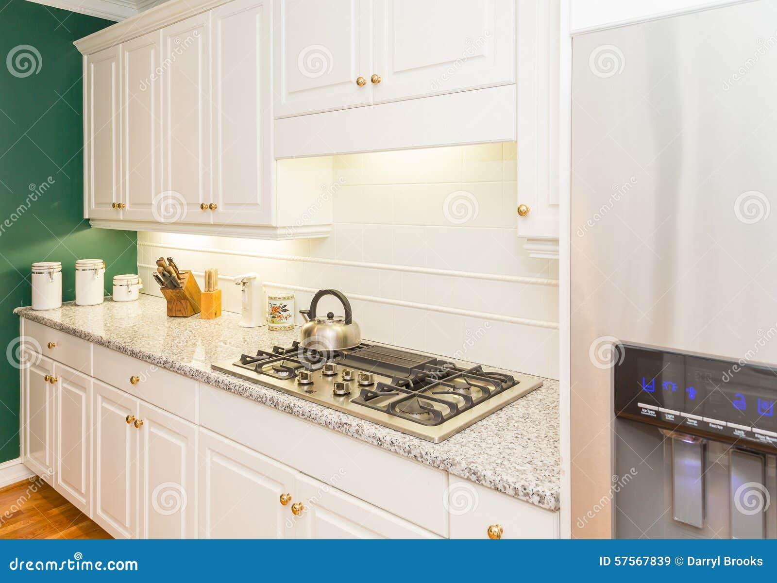Modern New Kitchen With Granite Countertops Stock Photo