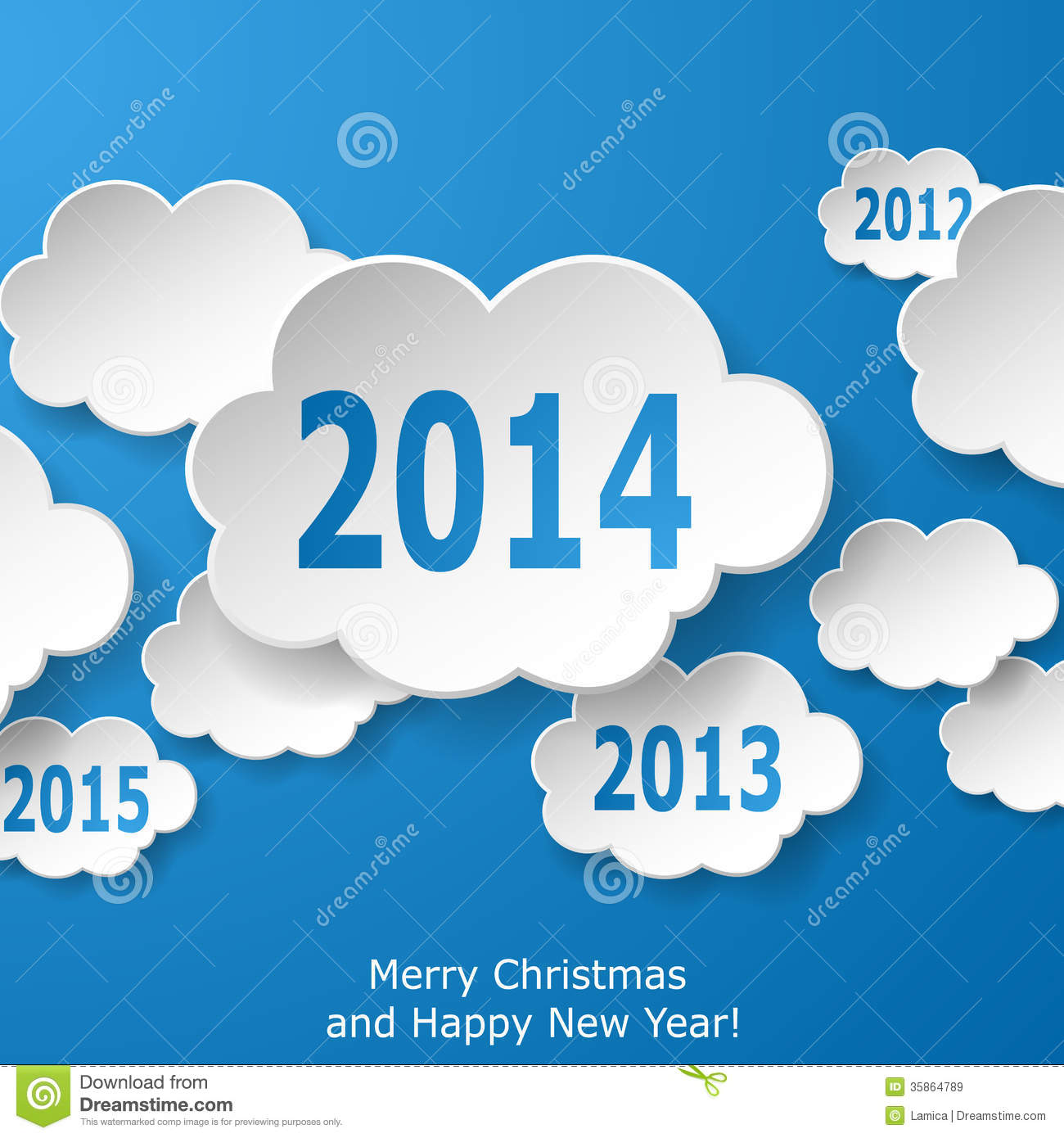 modern new year greeting card with paper clouds on blue background