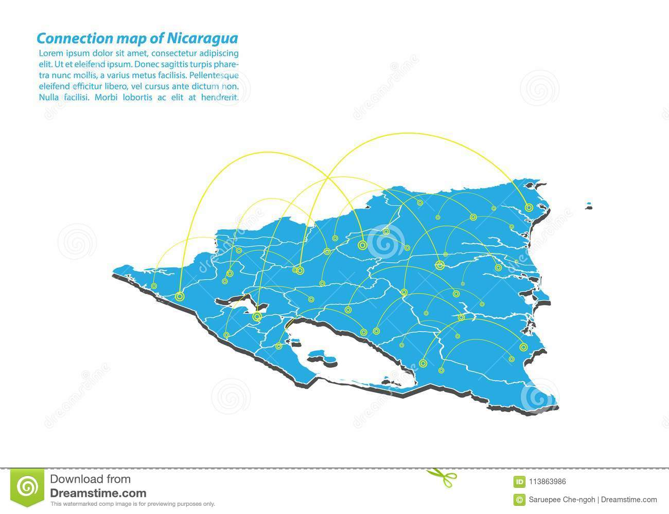 Modern of nicaragua Map connections network design, Best Internet Concept of nicaragua map business from concepts series