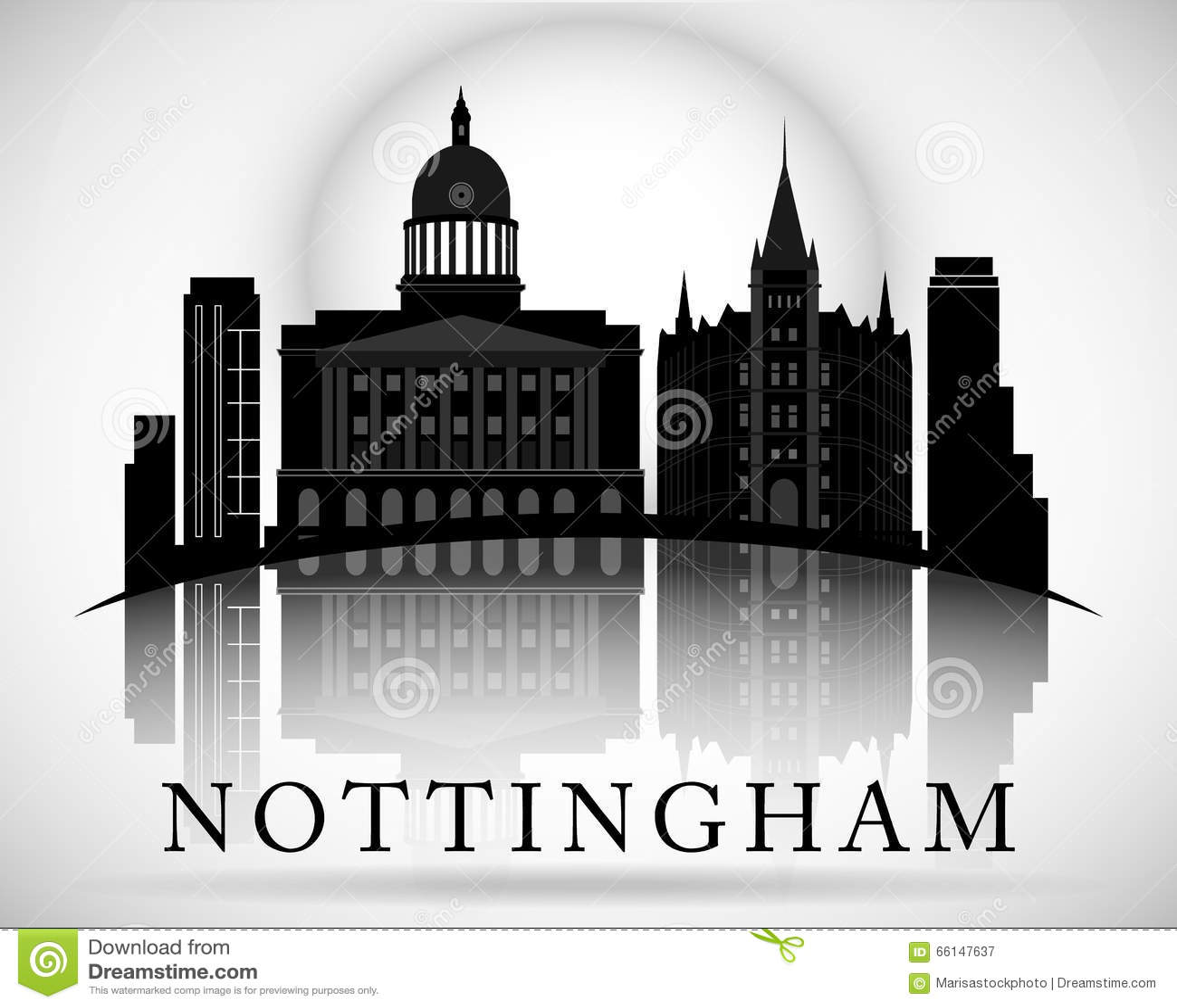 Modern Nottingham City Skyline Design. England