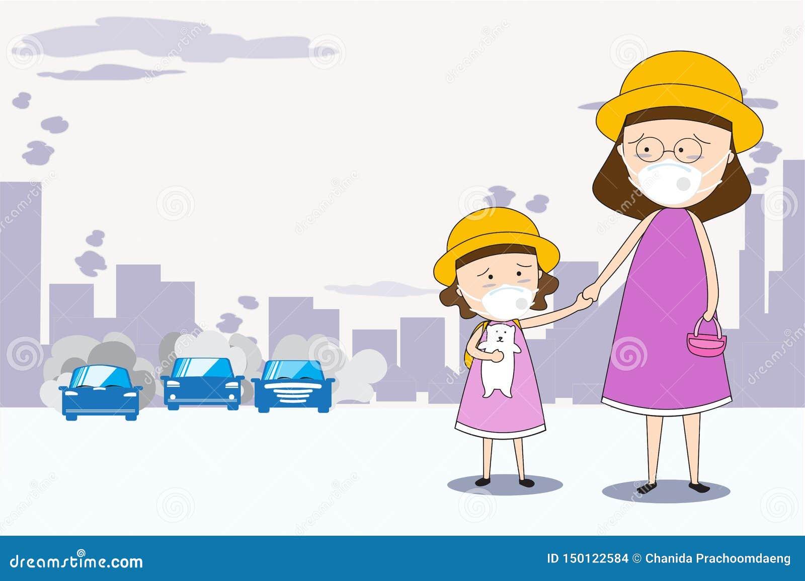 Modern och dottern går till skola- och klädermaskeringar N95 för att förhindra luftförorening i staden e.m. 2 _5 i damm meter