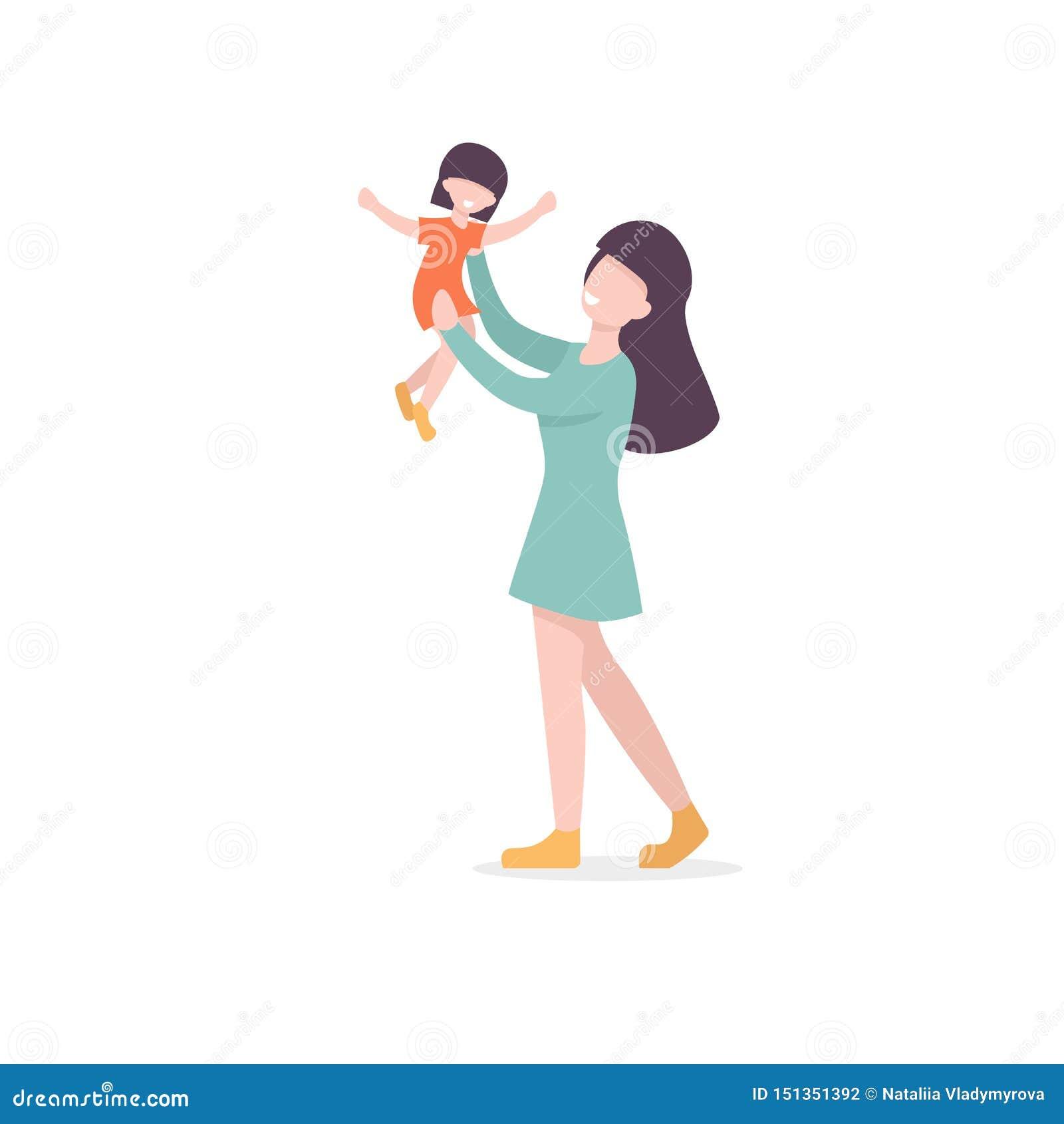 Modern och dottern, spelar med barnet