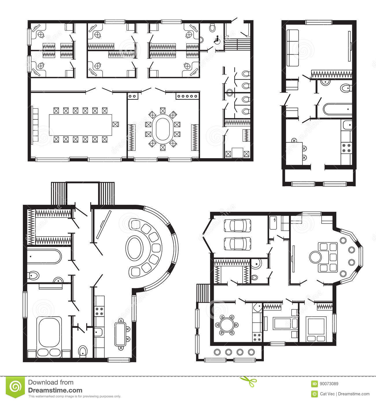 Superb Modern Office Architectural Plan Interior Furniture And Construction Design  Drawing Project Stock Vector   Illustration Of Blueprint, Drawing: 90073089