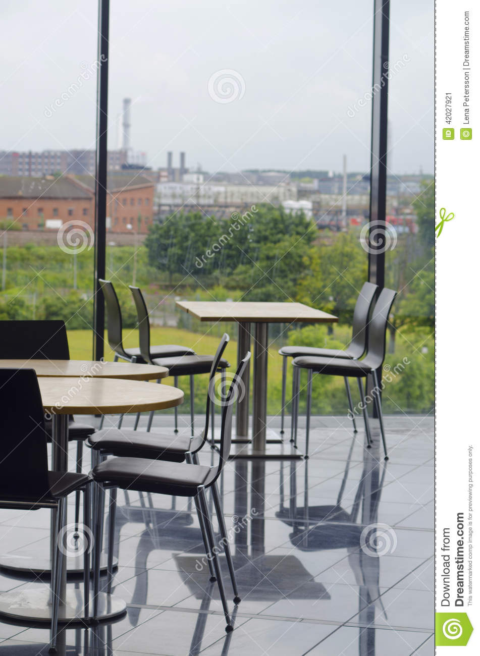 Modern Office Building Cafeteria Seating Area Stock Image - Image ...
